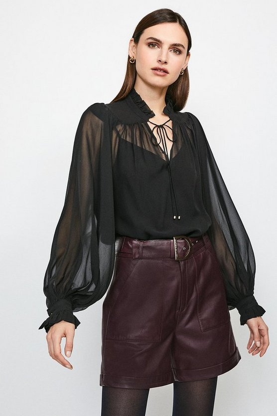 Black Silk Blouse With Fine Tucks