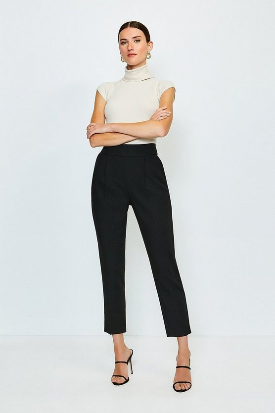 Black Compact Stretch High Waist Tailored Trousers