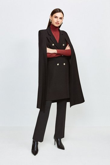 Black Notch Neck Tailored Cape