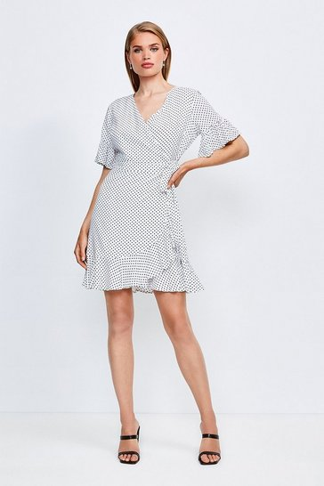 White Mix Spot Viscose Wrap Dress