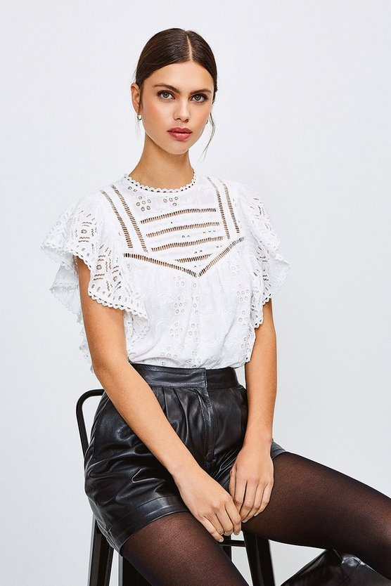 White Cotton Broderie Sleeveless Shirt