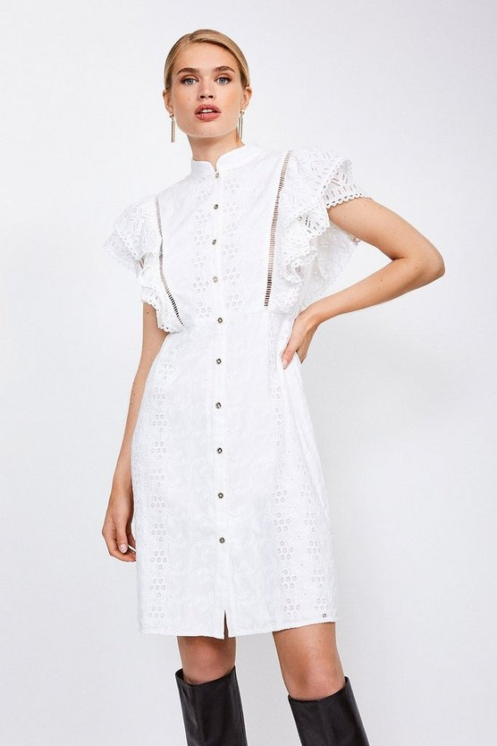 White Cotton Broderie Sleeveless Dress