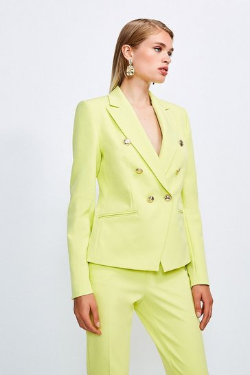 Lime Tailored Button Military Blazer