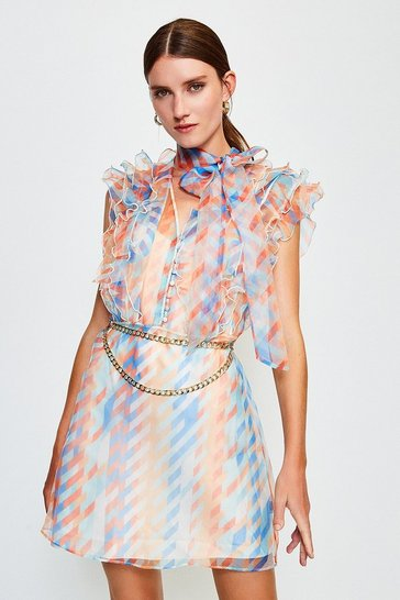 Blue Organza Print Dress