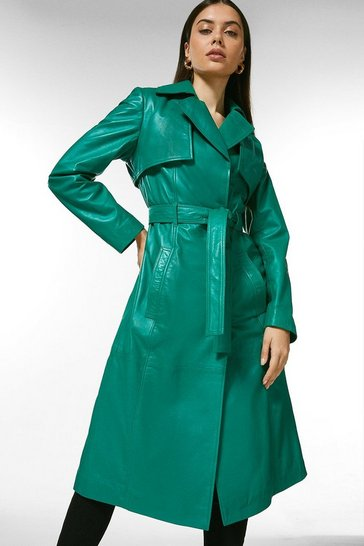 Bright green Leather Trench Coat