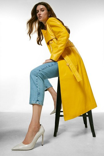 Mustard Leather Trench Coat