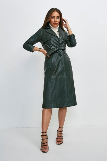 Olive Leather Trench Coat