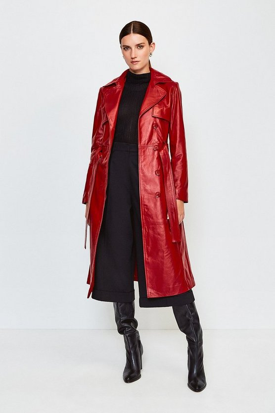 Red Leather Trench Coat