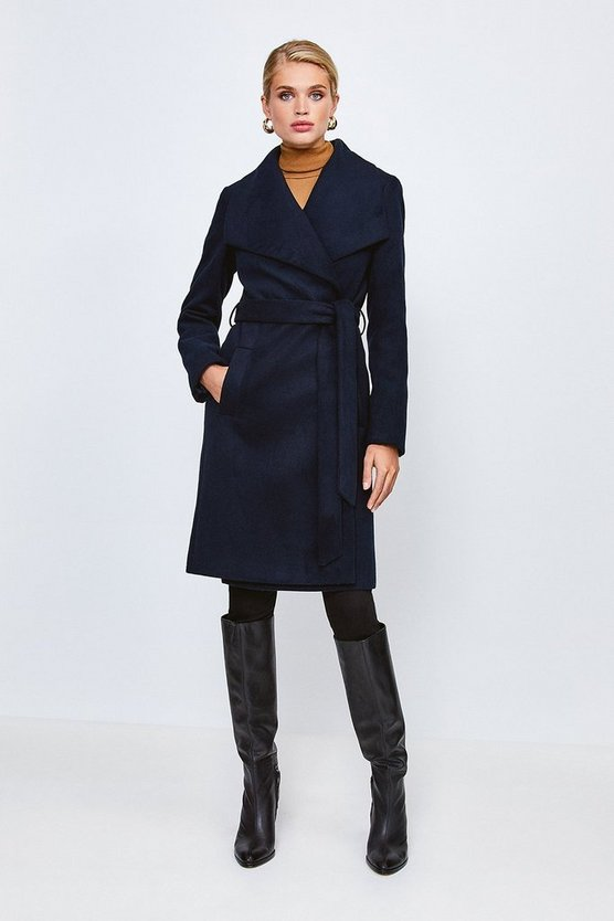 Navy Belted Wrap Coat