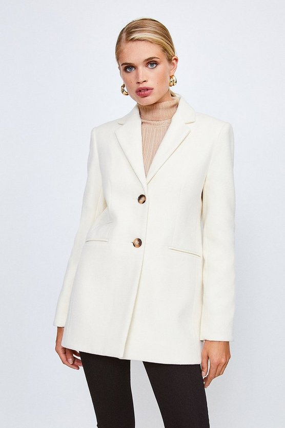 Ivory Button Through Formal Coat