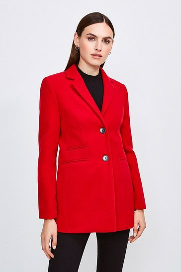 Red Button Through Formal Coat