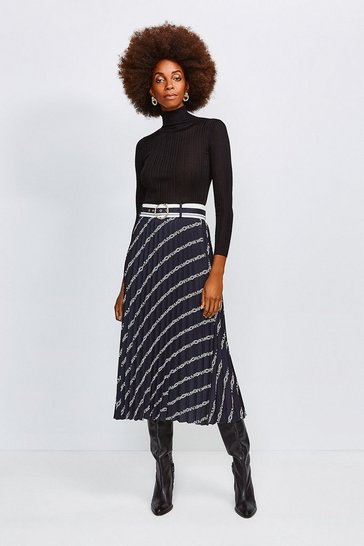 Black Logo Border Print Skirt With Sunray Pleats