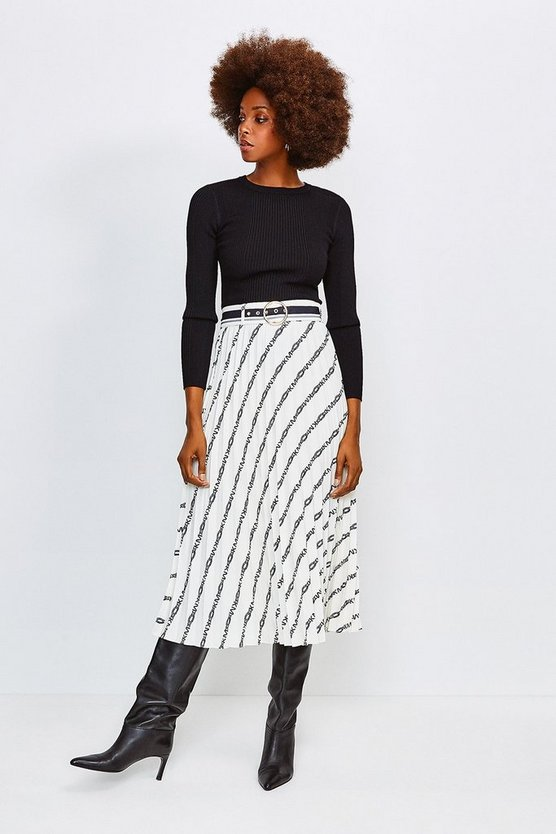 Ivory Logo Border Print Skirt With Sunray Pleats