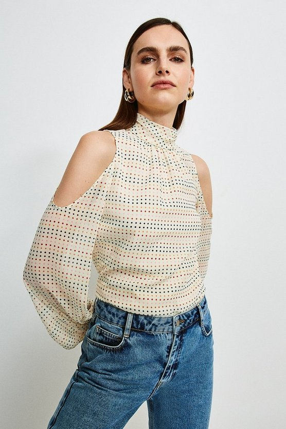 Ivory Cold Shoulder Ruffle Spot Shirt