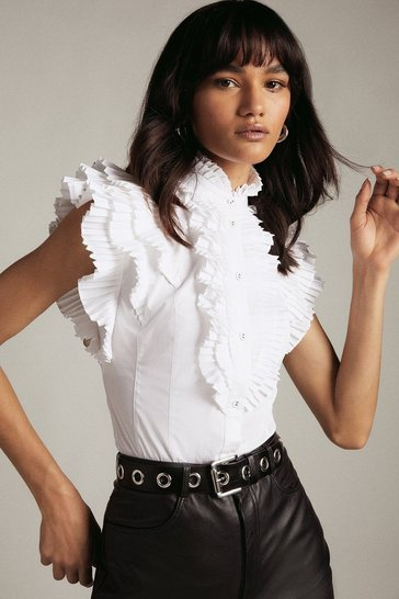 White Sleeveless Pleated Ruffle Blouse