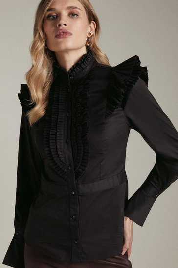 Black Long Sleeved Pleated Ruffle Shirt