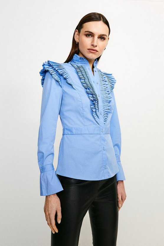 Blue Long Sleeved Pleated Ruffle Shirt