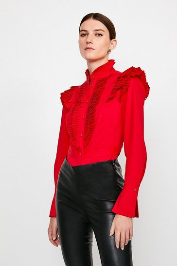 Red Long Sleeved Pleated Ruffle Shirt