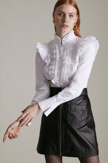 White Long Sleeved Pleated Ruffle Shirt