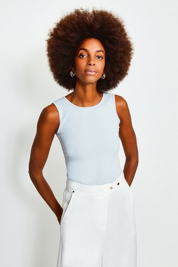 Pale blue Jersey  Crew Neck Vest Top