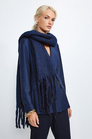 Navy Oversized Knitted Scarf