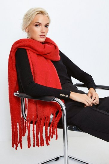 Red Oversized Knitted Scarf