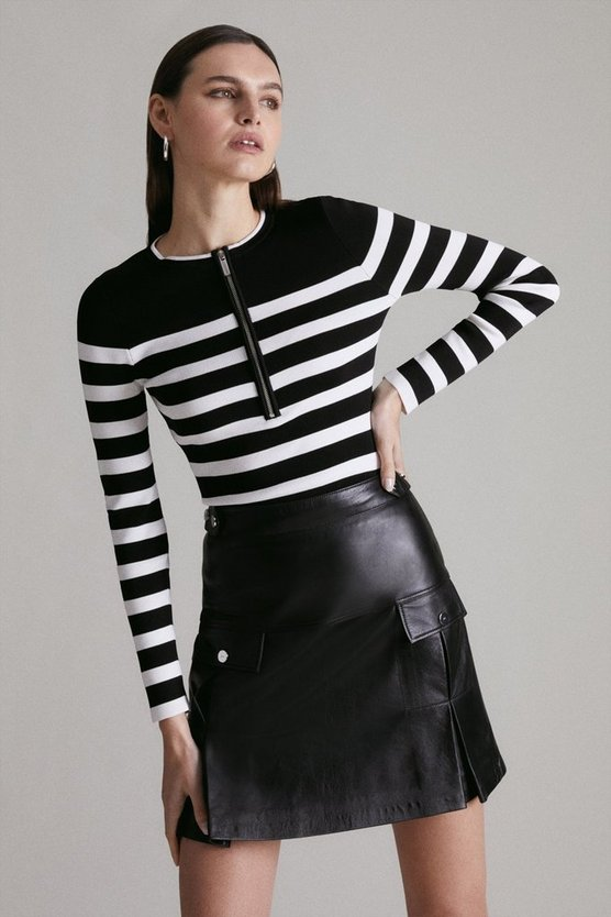 Blackwhite Long Sleeve Nautical Zip Front Knit Top