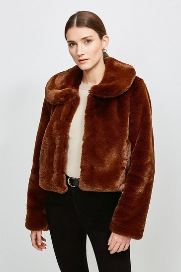Choc brown Round Collar Cropped Faux Fur Jacket