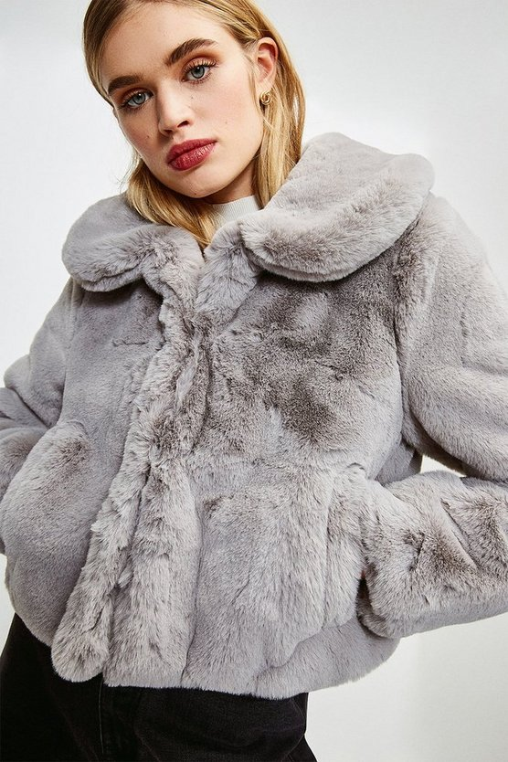 Grey Round Collar Cropped Faux Fur Jacket