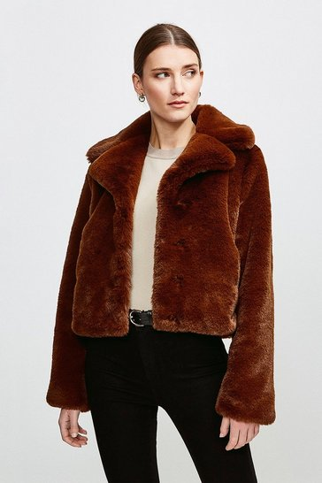 Choc brown Cropped Faux Fur Jacket