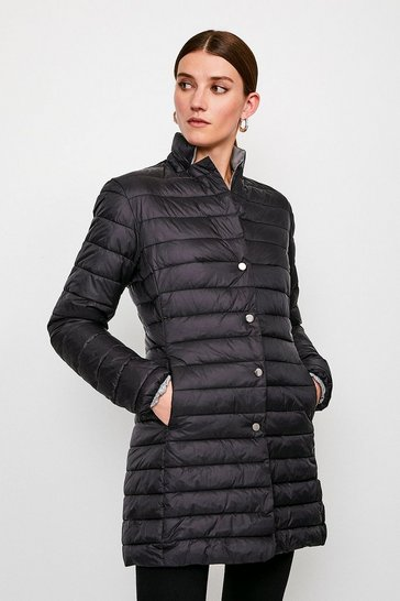 Black Longline Lightweight Padded Jacket