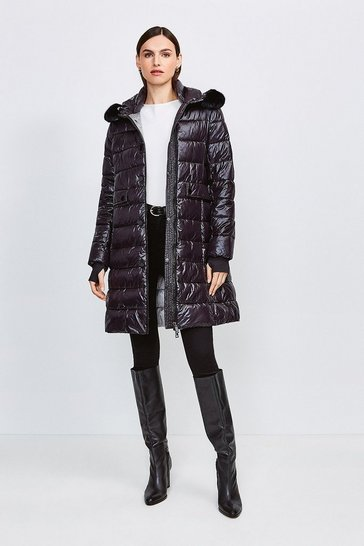 Black Fur Trim Hood Lightweight Padded Coat