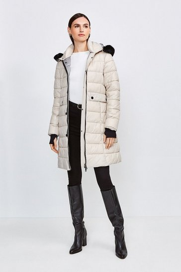 Stone Fur Trim Hood Lightweight Padded Coat