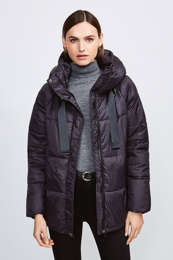 Black Padded Hooded Coat