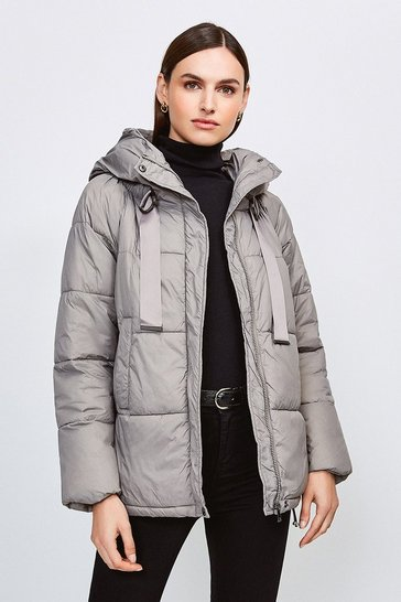 Grey Padded Hooded Coat