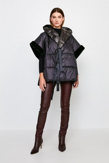 Black Padded Cape Jacket