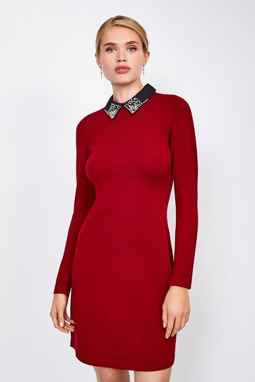 Red Crystal Collar Knit Dress