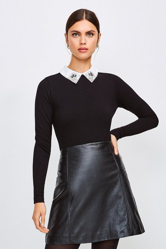 Black Crystal Collar Knit Jumper