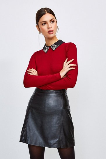 Red Crystal Collar Knit Jumper