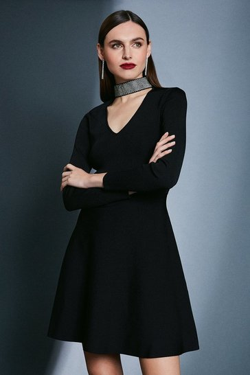 Black Diamante Neck Knit Dress