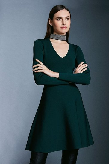 Dark green Diamante Neck Knit Dress