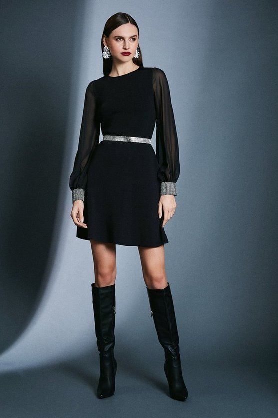 Black Diamante Cuff Knit Dress