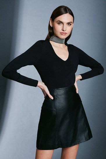 Black Diamante Neck Knit Jumper
