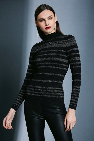 Black Ripple Stitch Sparkle Jumper
