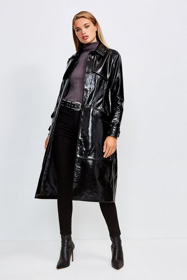 Black High Shine Leather Mac