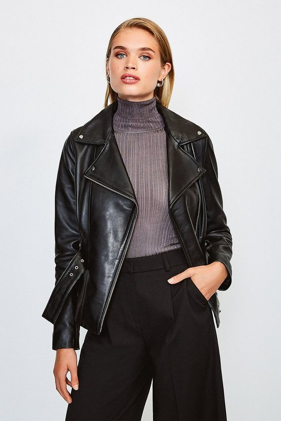 Black Leather Belted Jacket