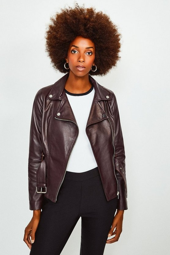Fig Leather Belted Jacket