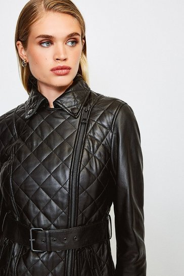 Black Leather Belted Quilted Jacket