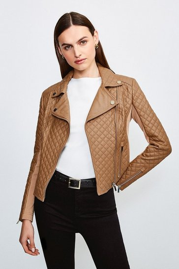 Camel Leather Quilted And Knit Panel Biker Jacket