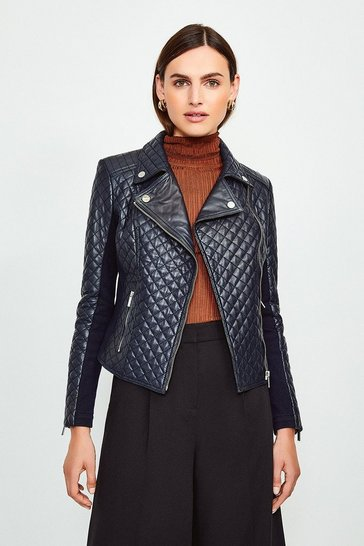 Navy Leather Quilted And Knit Panel Biker Jacket